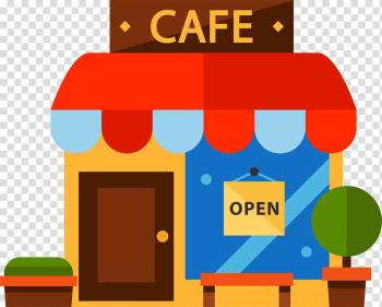 Cafe store art, Cafe Restaurant, Cartoon color coffee house transparent background PNG clipart png image transparent background