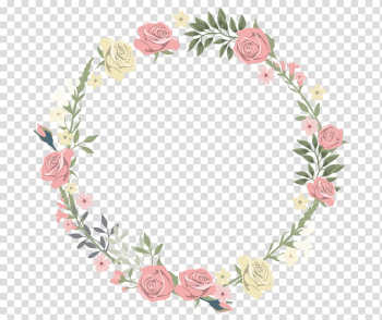 Wedding invitation frame Flower Watercolor painting, Rose decorative circular border, pink and yellow rose wreath transparent background PNG clipart png image transparent background