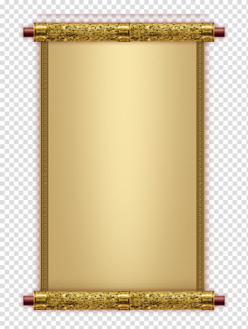 Paper Volume Parchment, Reel gold frame, gold blank scroll transparent background PNG clipart png image transparent background