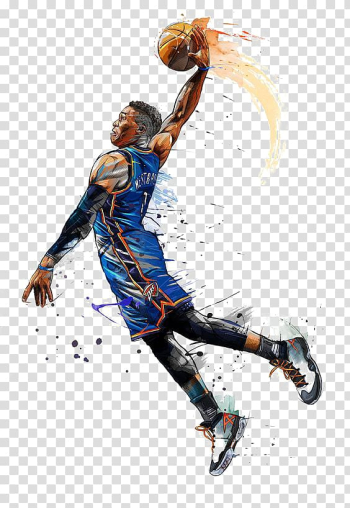 NBA All-Star Game Oklahoma City Thunder Basketball NBA Most Valuable Player Award, Hand-painted basketball player, Russell Westbrook transparent background PNG clipart png image transparent background