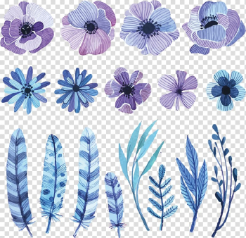 Flower Watercolor painting Drawing Sketch, watercolor flowers, purple, white, and black flower and feather illustrations transparent background PNG clipart png image transparent background