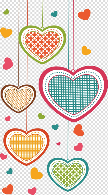 Greeting card Falling in love Cartoon, love, multicolored heart illustrations transparent background PNG clipart png image transparent background