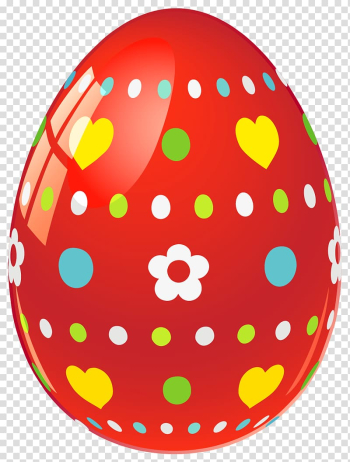 Easter Bunny Easter egg Egg decorating , Red Easter Egg with Flowers and Hearts , red floral and hearts egg transparent background PNG clipart png image transparent background