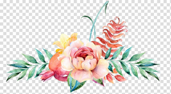 Flower Floral design Watercolor painting Illustration, Watercolor floral decoration, pink rose with blue background transparent background PNG clipart png image transparent background