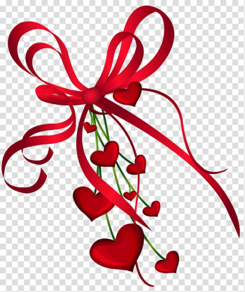 Valentine's Day Heart , Valentines Day Hearts Decor with Red Bow , red ribbon illustration transparent background PNG clipart png image transparent background