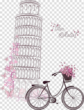 Eiffel Tower Symbol Paper, Hand-painted watercolor Leaning Tower of Pisa and bicycles, illustration of leaning tower of Pisa transparent background PNG clipart png image transparent background
