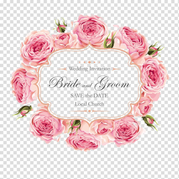 Wedding invitation Rose, Creative roses invitation design, pink flowers with text overlay transparent background PNG clipart png image transparent background