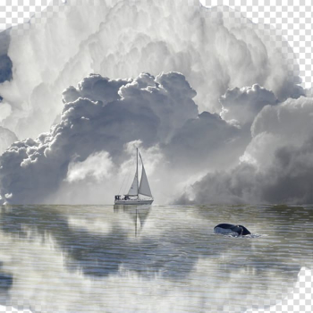 White sailing boat in the middle of ocean, Widescreen , Sailing Baiyun transparent background PNG clipart png image transparent background