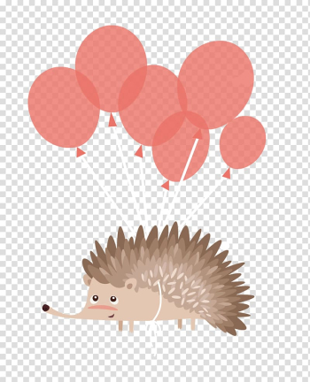 Hedgehog Birthday cake Cartoon, With balloons fly hedgehog transparent background PNG clipart png image transparent background