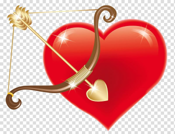 Cupid Heart , Red Heart with Cupid Bow , brown bow and red heart transparent background PNG clipart png image transparent background