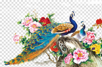 Chinese Painting Techniques Bird Peafowl Wall decal, FIG flowers Peacock, peacock painting transparent background PNG clipart png image transparent background