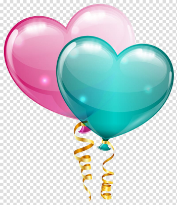 Balloon , Pink and Blue Heart Balloons , blue and pink heart balloons illustration transparent background PNG clipart png image transparent background