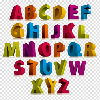 Alphabet Letter 3D computer graphics Font, Color 3D stereoscopic letter, alphabet transparent background PNG clipart png image transparent background