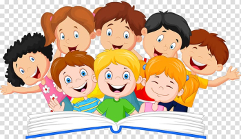 Children illustration, Book Reading Illustration, A group of children transparent background PNG clipart png image transparent background