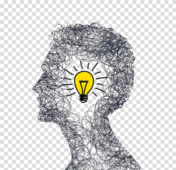 Scribble man head illustration with light bulb, Concept Idea Illustration, Creative Brain transparent background PNG clipart png image transparent background