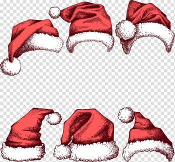 Santa Claus Christmas Hat New Year, Painted red Christmas hats transparent background PNG clipart png image transparent background