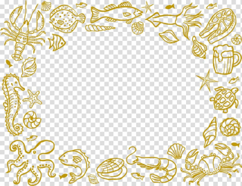 Under the sea-themed frame , Seafood Restaurant, Cartoon chalk seafood material transparent background PNG clipart png image transparent background