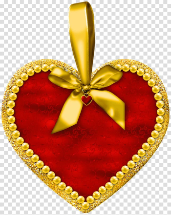 Red and yellow heart pendant illustration, Birthday Wish Valentine\'s Day Heart Love, Heart with Bow transparent background PNG clipart png image transparent background