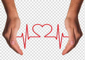 Heart rate diagram between person hands, Health Care Chronic condition Disease Asthma, Hands Holding Red Heart with ECG line transparent background PNG clipart png image transparent background