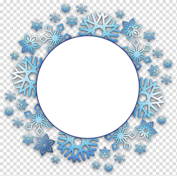 Round with blue snowflake graphic, Snowflake Christmas, Snowflake border transparent background PNG clipart png image transparent background