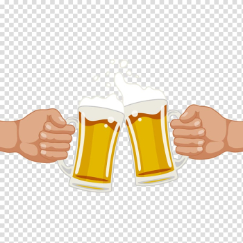 Beer mugs illustration, Draught beer Birthday Drink Brewing, Cheers friends transparent background PNG clipart png image transparent background