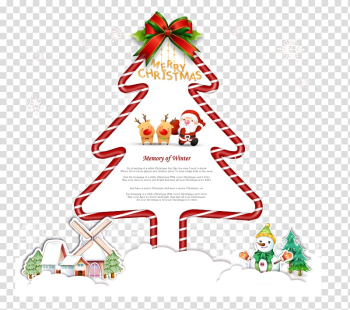 Christmas tree Santa Claus, Christmas tree in winter Lovely house transparent background PNG clipart png image transparent background