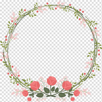 Wedding invitation Paper Flower Rose, Beautiful fresh garland border, green and pink flower wreaths transparent background PNG clipart png image transparent background
