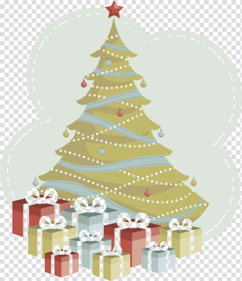 Christmas tree Christmas ornament, Hand-painted Christmas tree transparent background PNG clipart png image transparent background