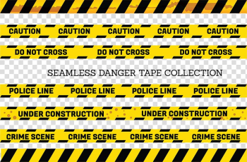 Yellow-and-black do not cross, police line, and crime scene seamless danger tape collection, Adhesive tape Yellow Barricade tape, Yellow and black border warning line transparent background PNG clipart png image transparent background