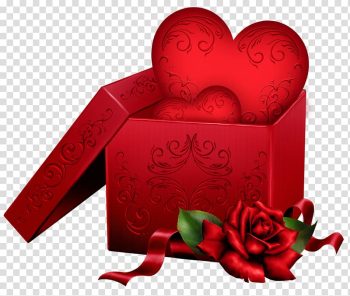 Heart in gift box , Gift Heart Valentine\'s Day , Gift Box with Heart and Rose transparent background PNG clipart png image transparent background