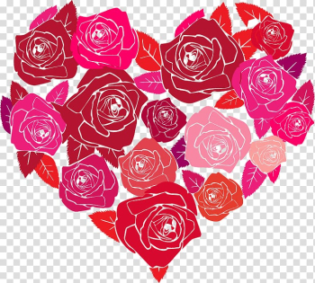 Red and pink rose flower forming heart art, Valentine\'s Day heart-shaped hand-painted roses transparent background PNG clipart png image transparent background