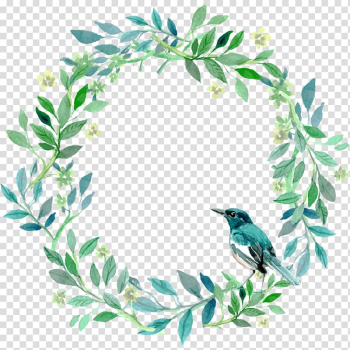 Painting of green and white flower wreath, Green and fresh grass ring bird decoration pattern transparent background PNG clipart png image transparent background