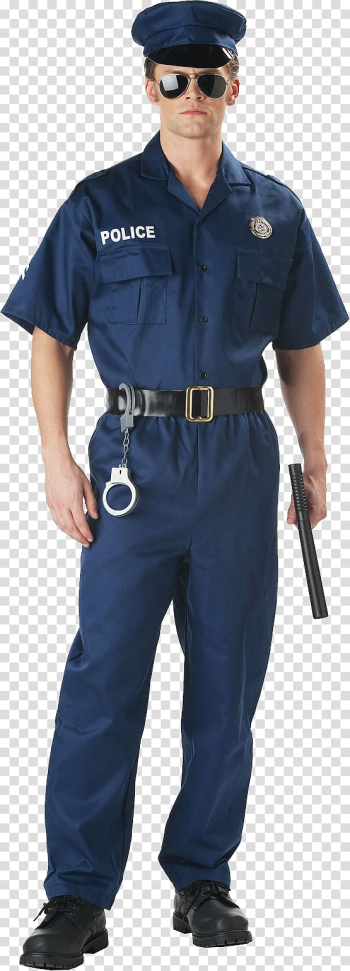 Man wearing police suit, Costume T-shirt Police officer Clothing Amazon.com, Policeman transparent background PNG clipart png image transparent background