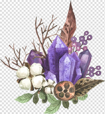 Crystal and fruit , Amethyst watercolor floral decoration feather transparent background PNG clipart png image transparent background