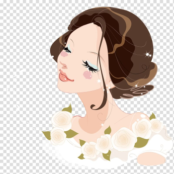 Woman with brown hair animated illustration, Flowers beautiful transparent background PNG clipart png image transparent background