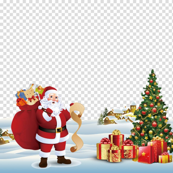 Santa Claus Christmas tree Greeting card Gift, Christmas promotional posters transparent background PNG clipart png image transparent background