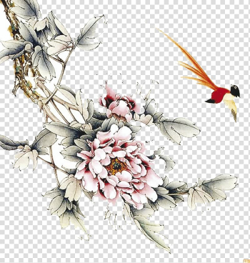 Ink wash painting Gongbi Bird-and-flower painting, peony transparent background PNG clipart png image transparent background