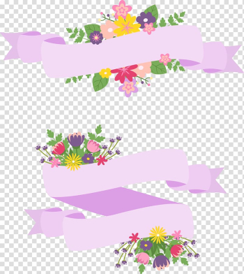 Flowers and ribbon illustration, Flower, hand-painted cartoon flower label transparent background PNG clipart png image transparent background