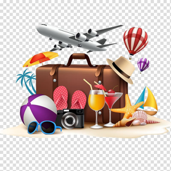 Briefcase and hot air balloons, Poster Summer vacation, Creative Travel transparent background PNG clipart png image transparent background