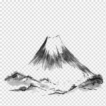 Gray and black abstract painting, Mount Fuji Mountain Drawing Illustration, Mountain Ink transparent background PNG clipart png image transparent background