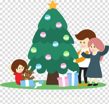 Christmas tree Family , Flat Christmas Family transparent background PNG clipart png image transparent background