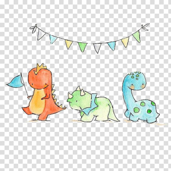 Three dinosaurs under banner sketch, Triceratops Tyrannosaurus Dinosaur Paper Drawing, Small dinosaur transparent background PNG clipart png image transparent background