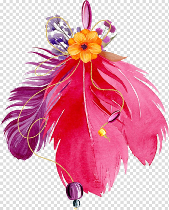 Bird Feather Flower, Hand painted feather flowers transparent background PNG clipart png image transparent background
