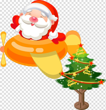 Santa Claus Airplane Christmas Gift Icon, Christmas transparent background PNG clipart png image transparent background