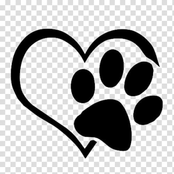 White heart and footprint illustration, Dog Cat Paw Decal Sticker, Love paws transparent background PNG clipart png image transparent background