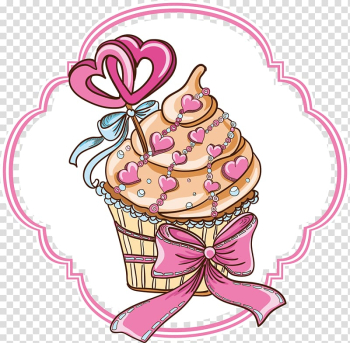 Cupcake Bakery Logo Pastry, Pink Cake transparent background PNG clipart png image transparent background