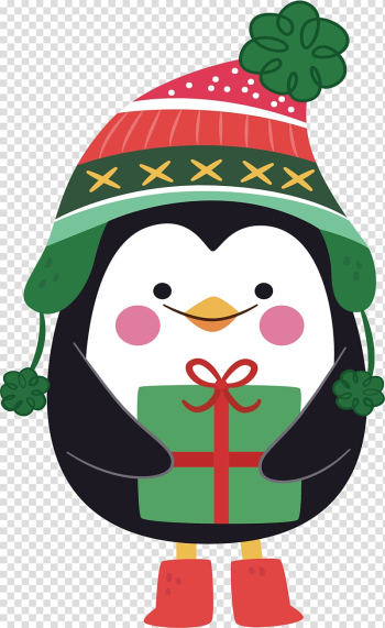 Black, white, and red penguin , Santa Claus Christmas Eve Christmas card Gift, Christmas Penguin transparent background PNG clipart png image transparent background