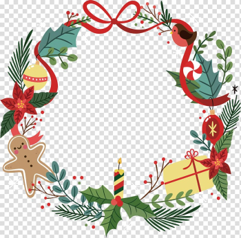 Christmas decoration Santa Claus Christmas ornament Gift, Lovely Christmas garlands transparent background PNG clipart png image transparent background