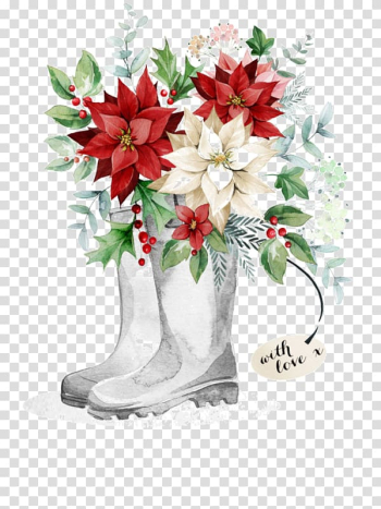 Pair of boots with red and white poinsettias illustration, Christmas card Christmas gift , Hand-painted boots safflower transparent background PNG clipart png image transparent background