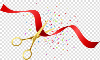 Gold scissors cutting red ribbon , Opening ceremony Illustration, Beautifully opened scissors poster transparent background PNG clipart png image transparent background